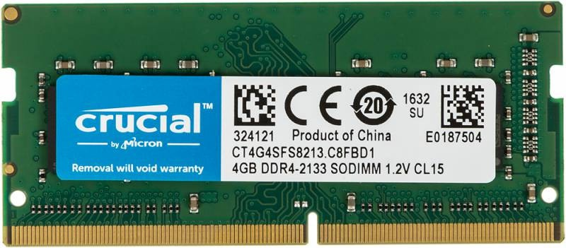 28296 Память SO-DIMM DDR4 4096Mb 2133MHz Crucial CT4G4SFS8213 CL15 260-pin 1.2В single rank (Модули памяти / Компьютеры, комплектующие) - It-monolit: компьютеры, и комплектующие.